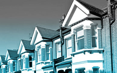 Row of terraced houses representing Bates Solicitors property department dealing with residential and commercial conveyancing.