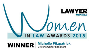 Michelle Fitzpatrick wins Women In Law Award 2015.  Family Solicitor Michelle is based in our Weybridge Surrey office