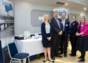 Senior Solicitor Geoffrey Gibbons (centre) at the Bates Solicitors Stand with (l-r) Laura Roberts, Robert Habbitts, Marianne Tyndall and Bo Nightingale.
