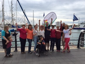 "Theo with the Athena Networking (Alton) Ladies who abseiled the Spinnaker Tower to raise funds for Brainwave, the charity who have given him ""life changing"" support."