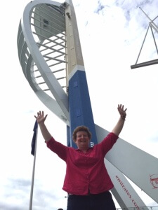 Doreen successfully completes the abseil!