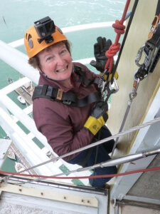 Solicitor Doreen Burton at the start of the Spinnaker Tower Abseiling Challenge 2016